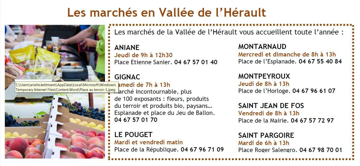 Les jours de marchés en vallée de l'Hérault