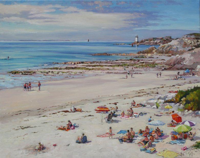 Peinture marine des c^tes de Bretagne plage de Portez au Conquet Henri Le Goff