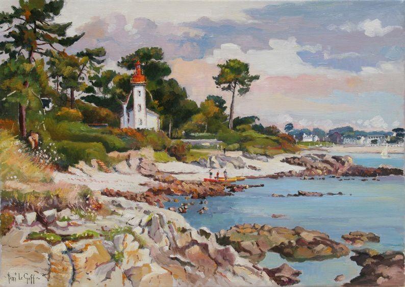 Le phare de Sainte Marine près de la pointe de Sainte-Marine, marque la rive droite de l embouchure de l'Odet - Peinture marine à l huile sur toile Henri Le Goff