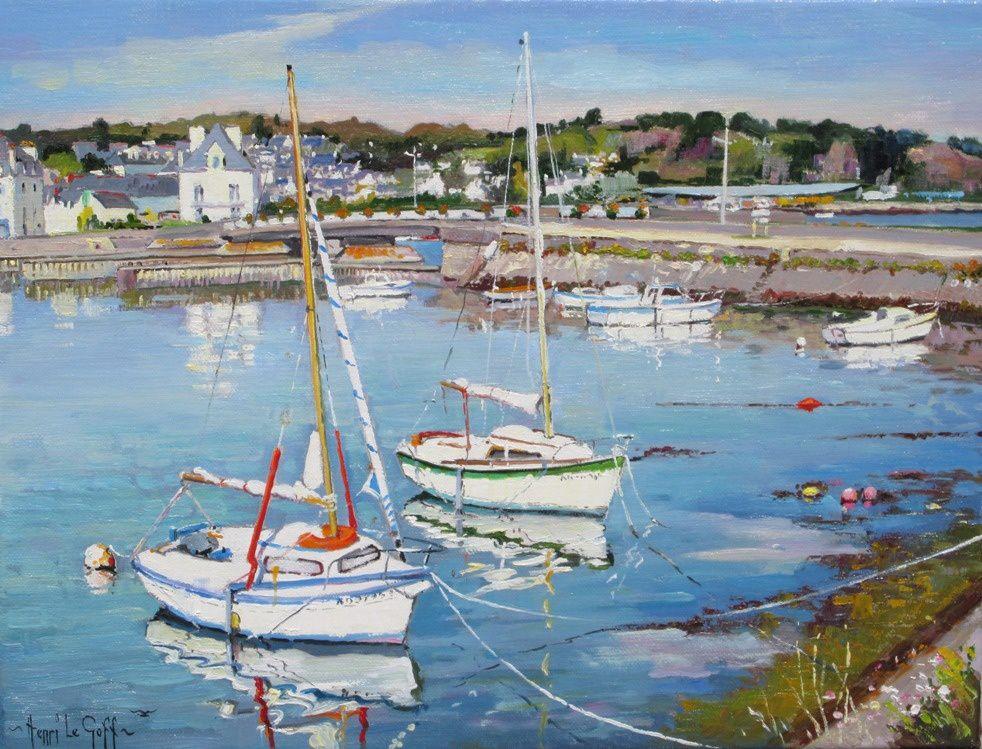 Audierne Plouhinec les voiliers - peinture marine paysage peintures des côtes de Bretagne Henri Le Goff