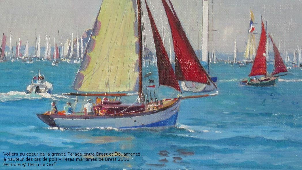 Gros plan sur l'un des magnifiques voiliers classiques et vieux gréements participant aux fêtes maritimes de Brest 2016 - Peinture Henri Le Goff