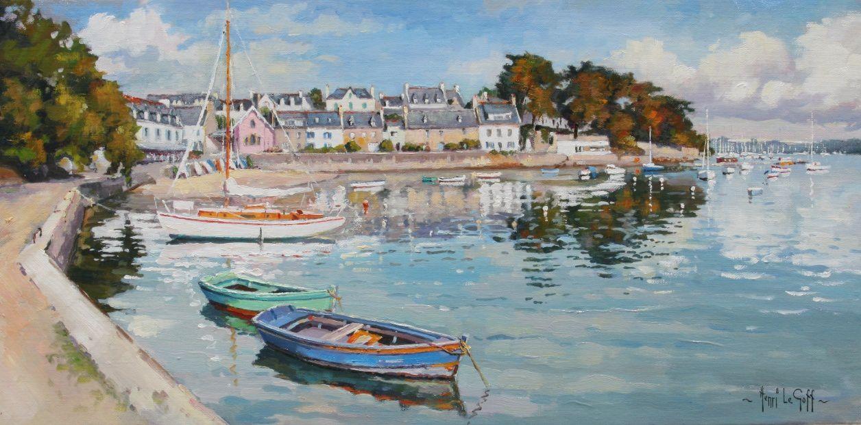 Port de Sainte-Marine et son abri du marin rose - peinture marine huile sur toile Henri Le Goff