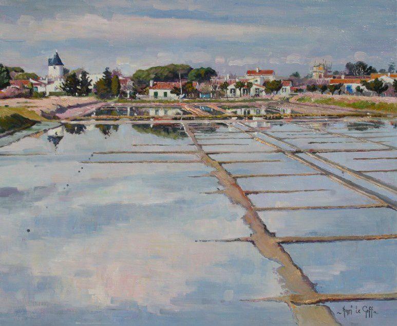 Tableau Peinture marais salans à Loix en Ré - Ile de Ré - huile sur toile Henri Le Goff