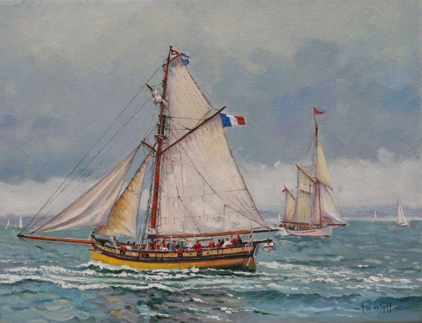Le Renard de Saint-Malo Surcouf - tableau peinture marine vieux gréement - Huile sur toile Henri Le Goff