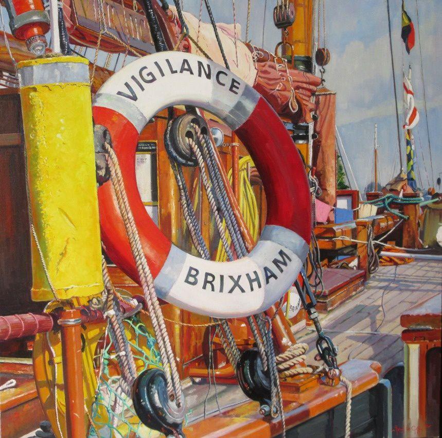 La bouée de sauvetage du Vigilance of Brixham - Peinture marine Henri Le Goff - 80 x 80 cm - 2017