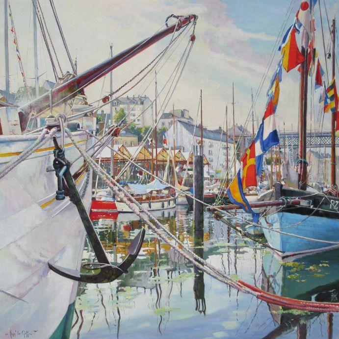 Tableau marine Fêtes maritimes de Douarnenez  l ancre du dundee Mutin de la Marine Nationale -  Peinture à l'huile sur toile de lin - 80 x 80 cm - Henri Le Goff