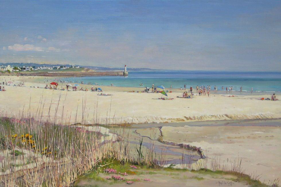 La plage d Audierne avec le phare et le môle du Raoulic - Peinture marine huile sur toile de Bretagne - Henri Le Goff