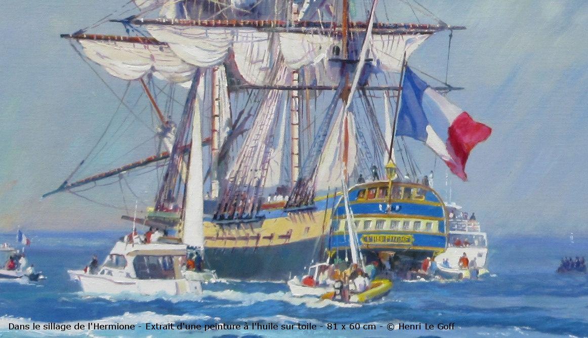 Maritime art painting oil on canvas - Frégate Hermione fetes maritimes Brest - Peinture marine huile sur toile - Henri Le Goff
