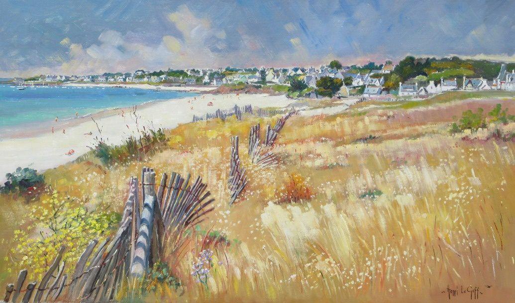 Les ganivelles de la plage d Audierne - Peinture paysage marine côtes de Bretagne - huile sur toile - Henri Le Goff