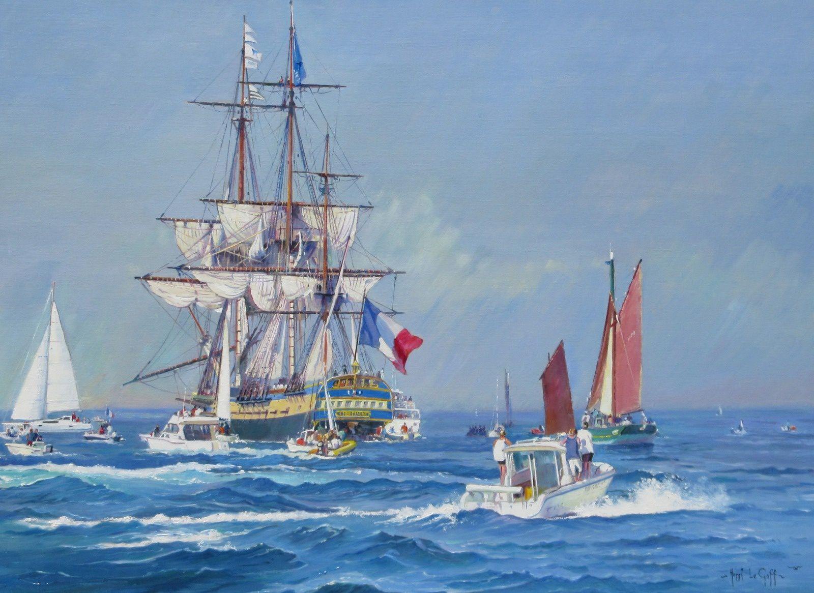 Dans le sillage de la frégate Hermione La Fayette Rochefort Etats Unis d'Amérique -  Peinture marine Huile sur toile - Henri Le Goff