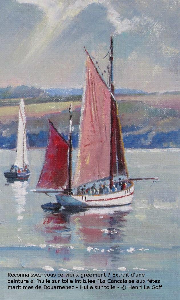 Voilier Belle Etoile de Camaret en peinture huile sur toile - marine vieux gréement - Henri Le Goff
