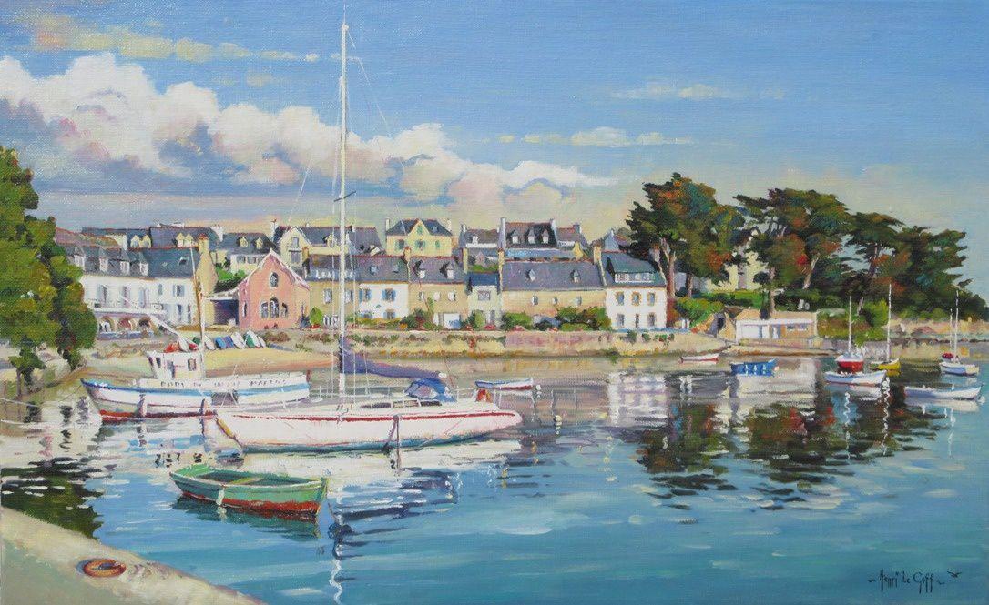 Le port de Sainte Marine la petite riviera bretonne - Peinture huile sur toile cotes de Bretagne - Henri Le Goff