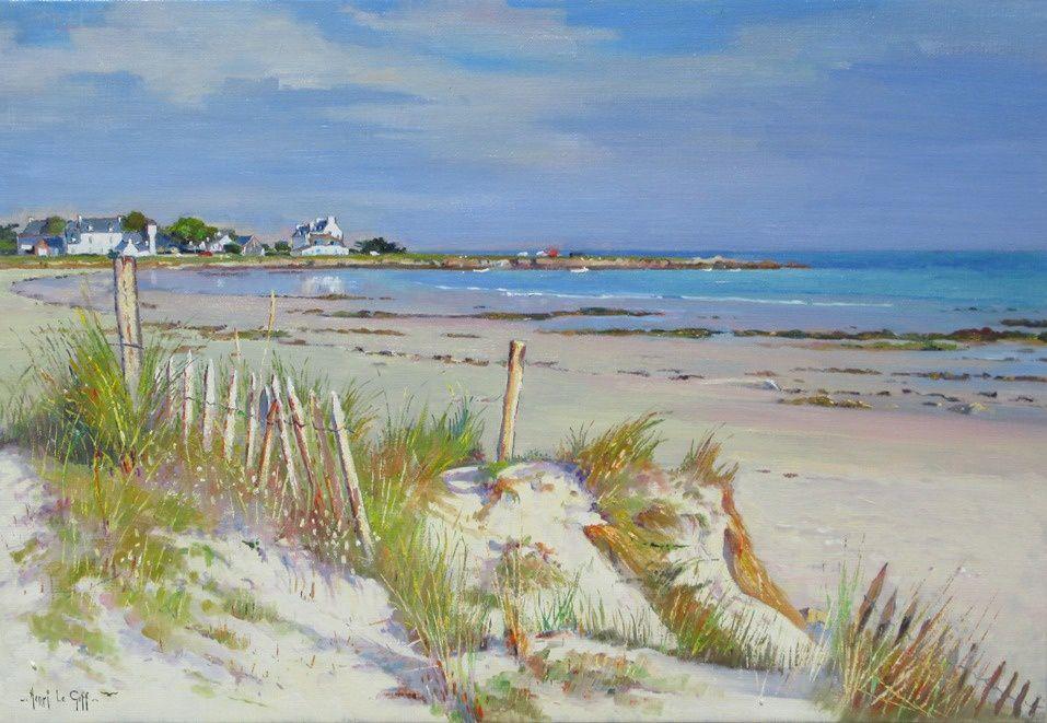 Plage de Pors Carn Saint-Guénolé La Torche Penmarc'h - Peinture marine plages et cotes de Bretagne - Huile sur toile Henri Le Goff