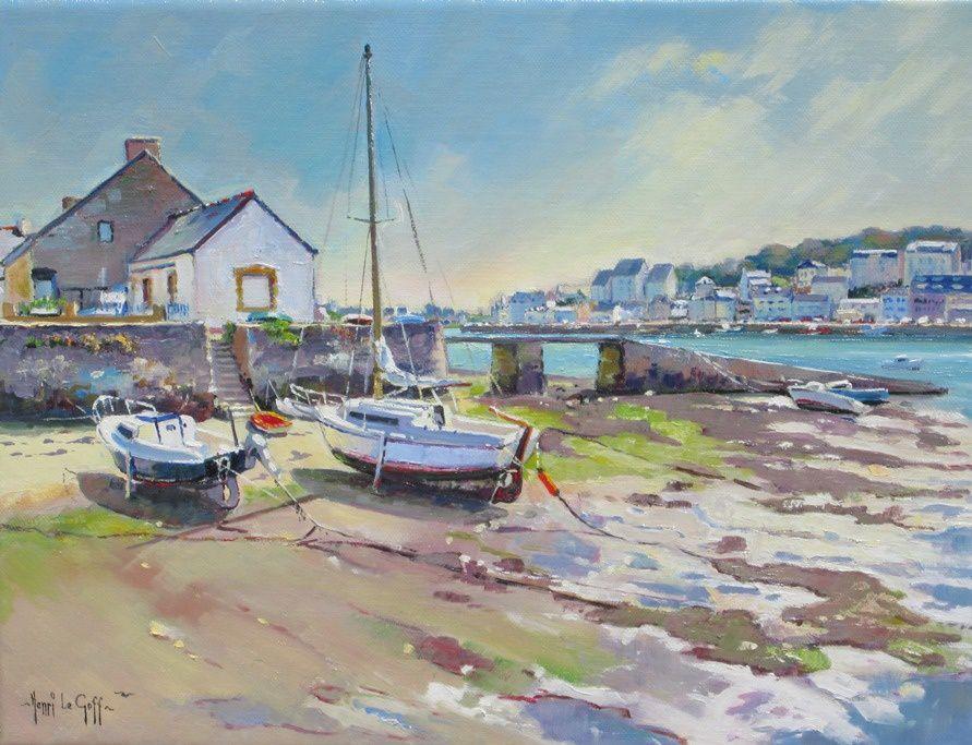 Contre-jour sur des voiliers échoués sur les rives du Goyen a Poulgoazec - Peinture marine de Bretagne Henri Le Goff