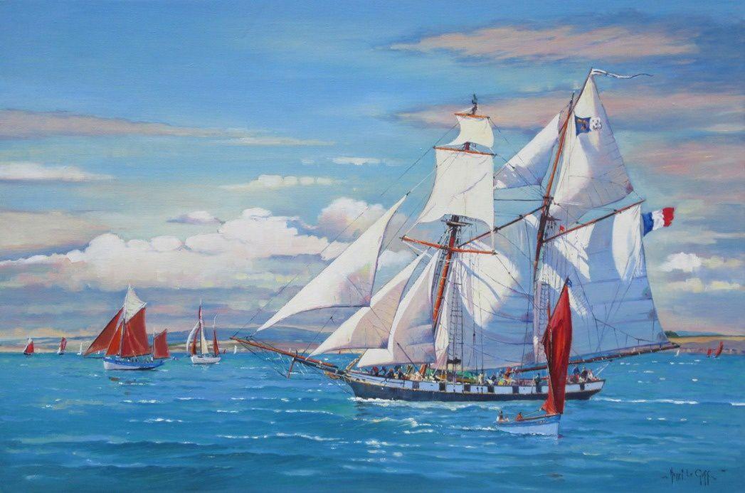 Aviso goélette Recouvrance en baie de Douarnenez - Peinture marine - huile sur toile Henri Le Goff