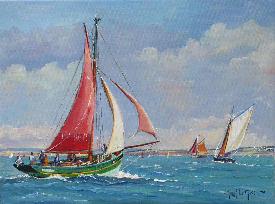 Tableau Peinture marine à vendre vieux gréement Langoustier Cap Sizun d Audierne en baie de Douarnenez - Huile sur toile Henri Le Goff