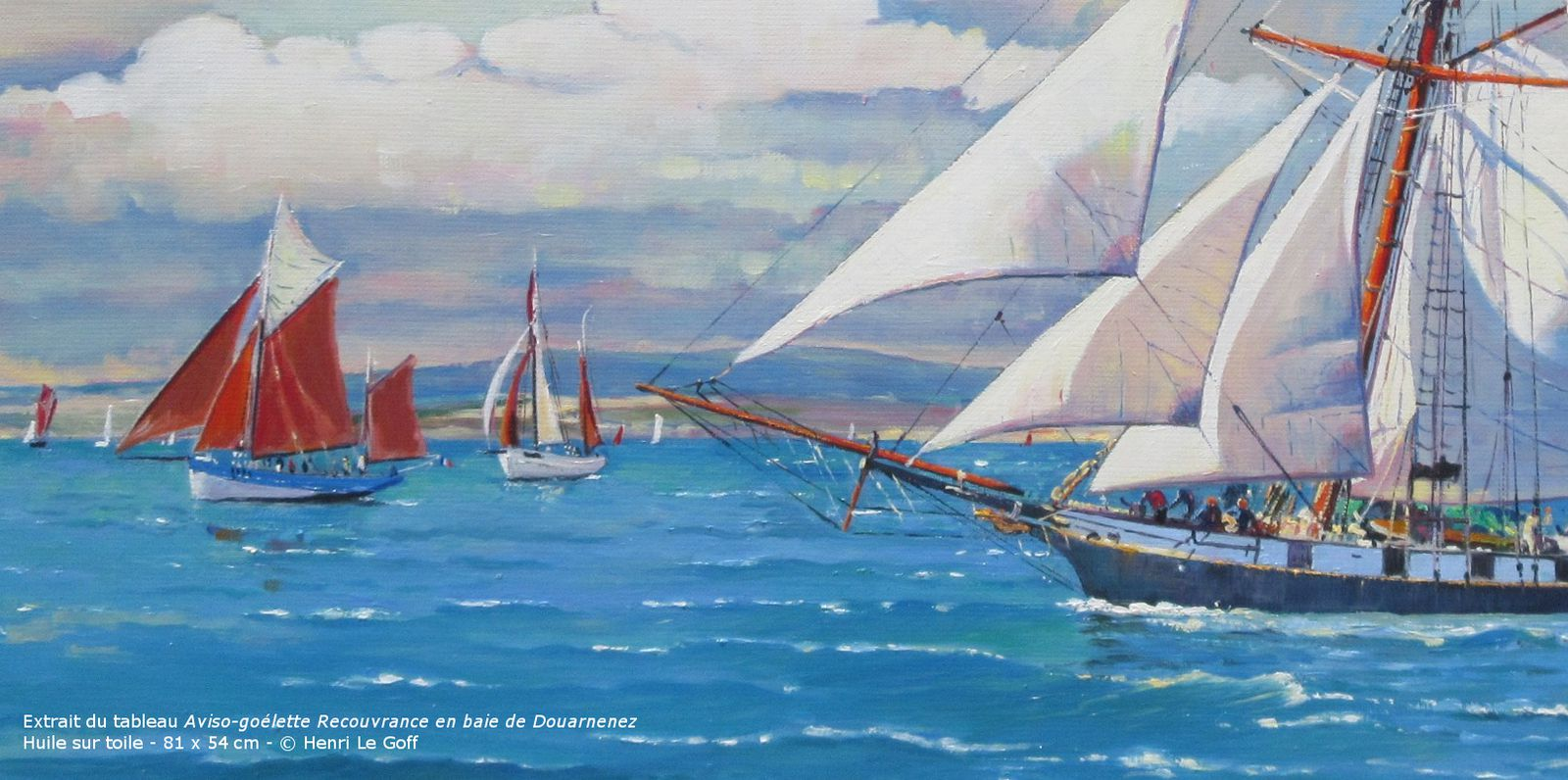 Marine Painting Sailing ship Recouvrance Brittany oil on canvas Henri Le Goff french figurative painter