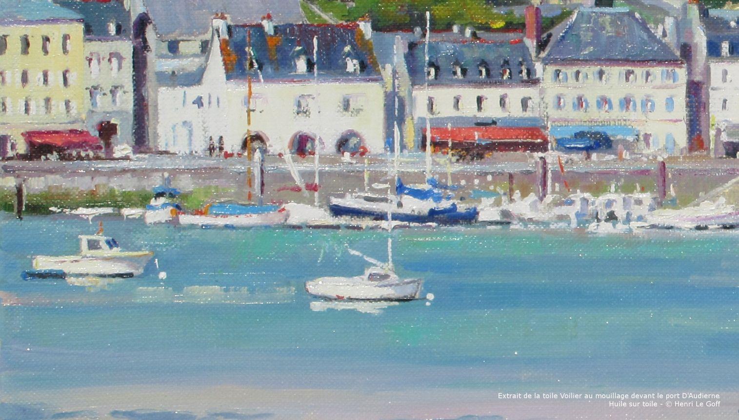 La Galerie 29 exposition Peinture marine Voilier a maree basse devant le port d Audierne Cap Sizun - Huile su toile Henri Le Goff
