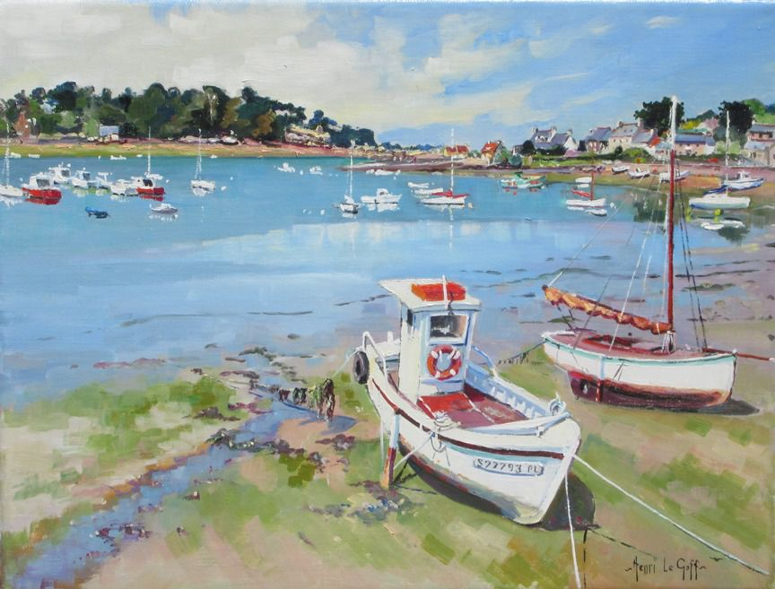 Ploumanach Cote de granit rose Bretagne - Tableau peinture bateaux navires voiliers - huile sur toile - Henri Le Goff