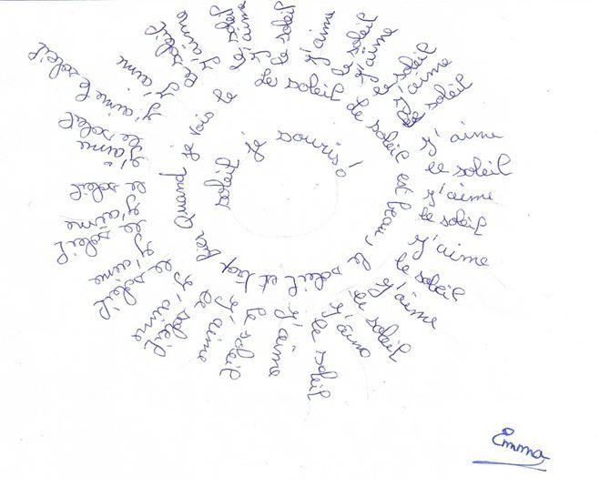 Création de calligrammes par les élèves de CM1