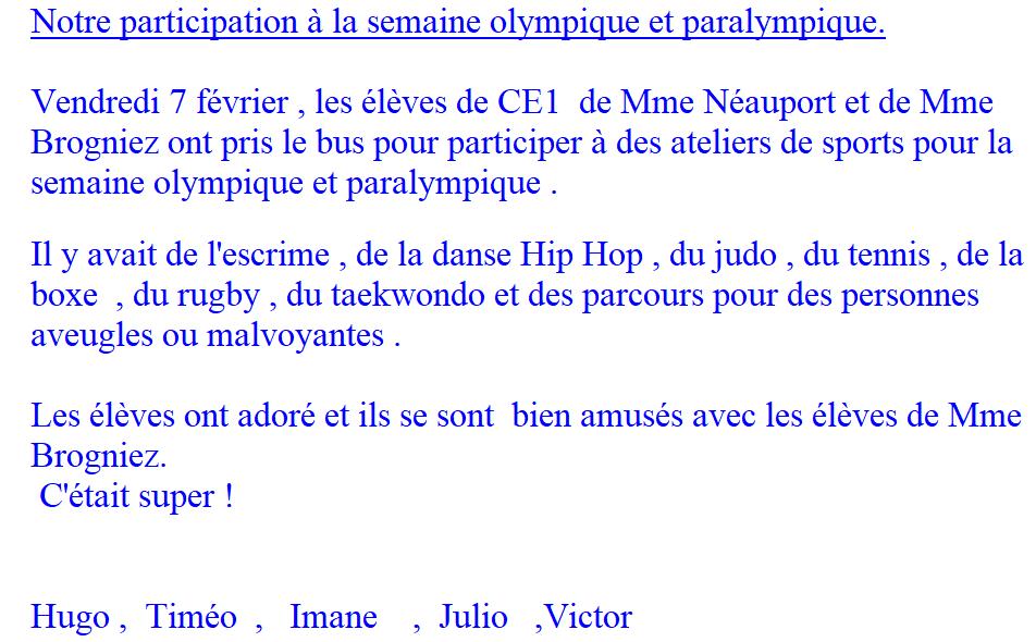 Participation des CE1 à la semaine olympique et paralympique