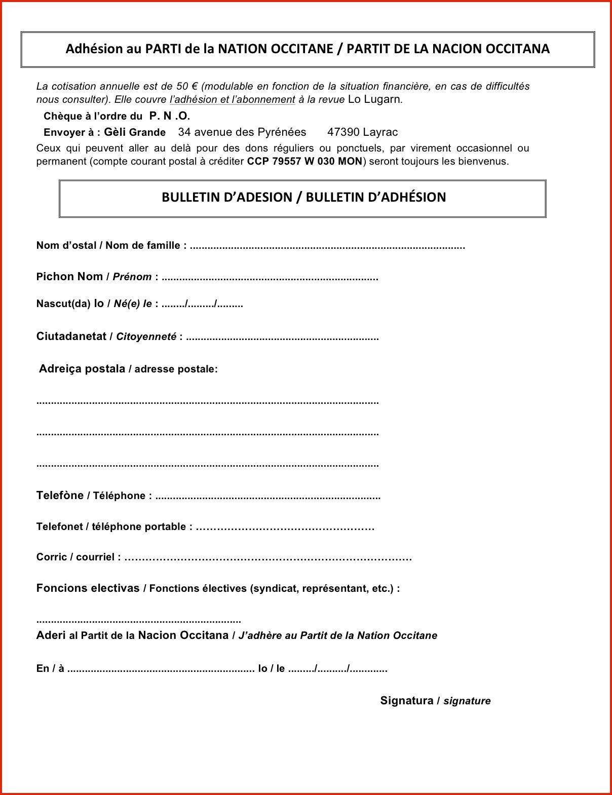 BULLETIN D'ADESION / BULLETIN D'ADHÉSION P.N.O