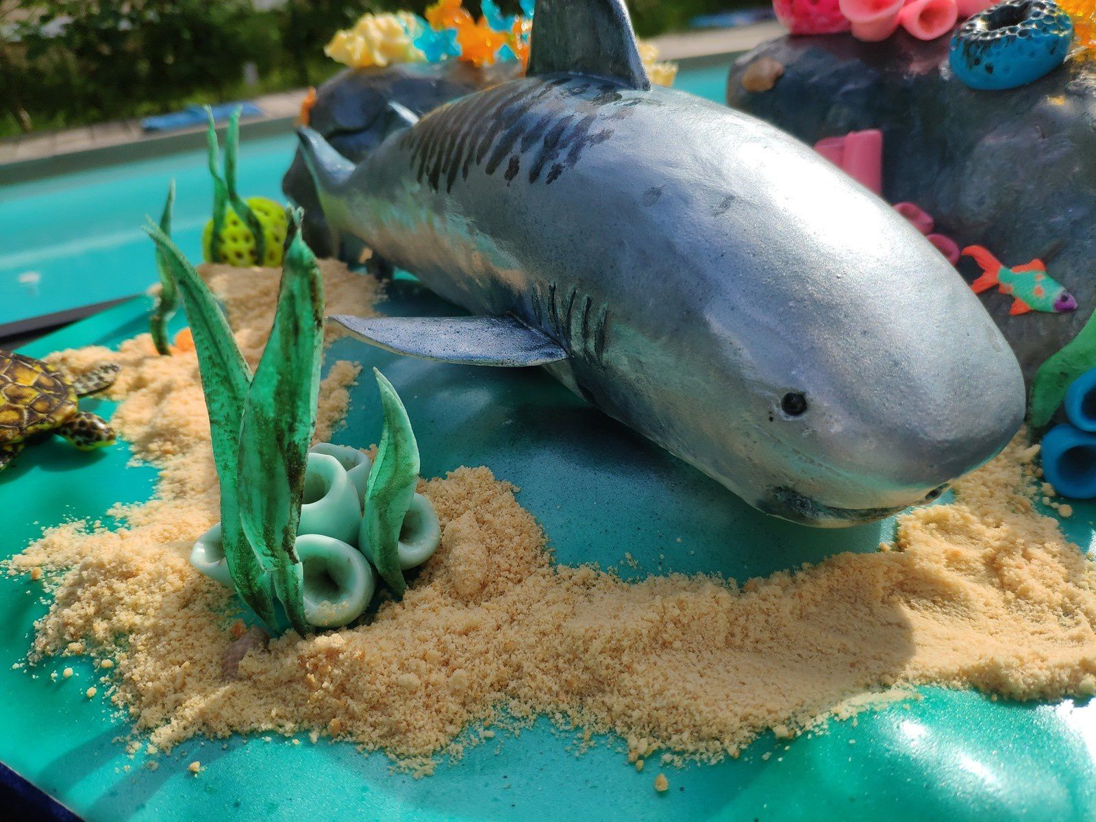 GATEAU REQUIN TIGRE ET FONDS MARINS - SHARK CAKE AND REEFS