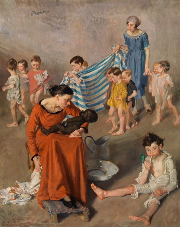 Bathtime at the crèche - Margaret Clarke, 1925