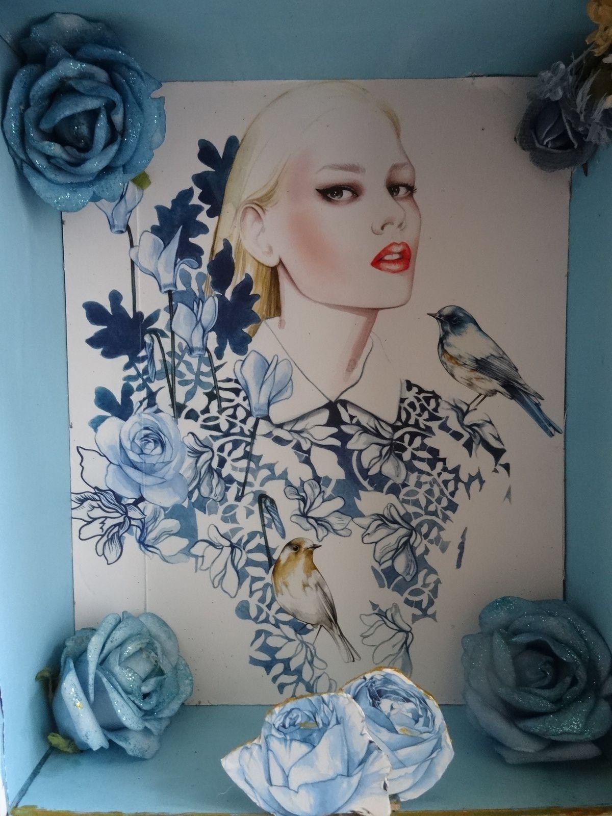 Roses bleues vitrine miniature