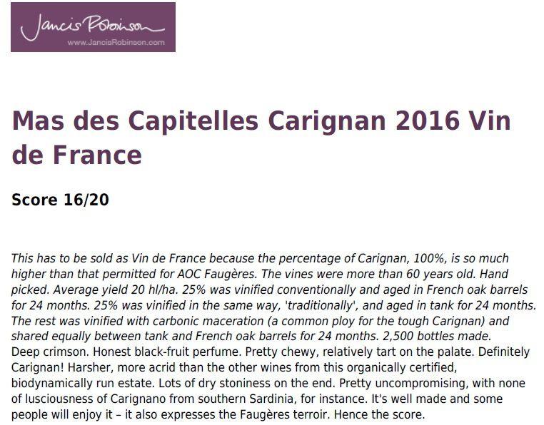 Les vins du Mas des Capitelles cités dans le guide Jancis Robinson.