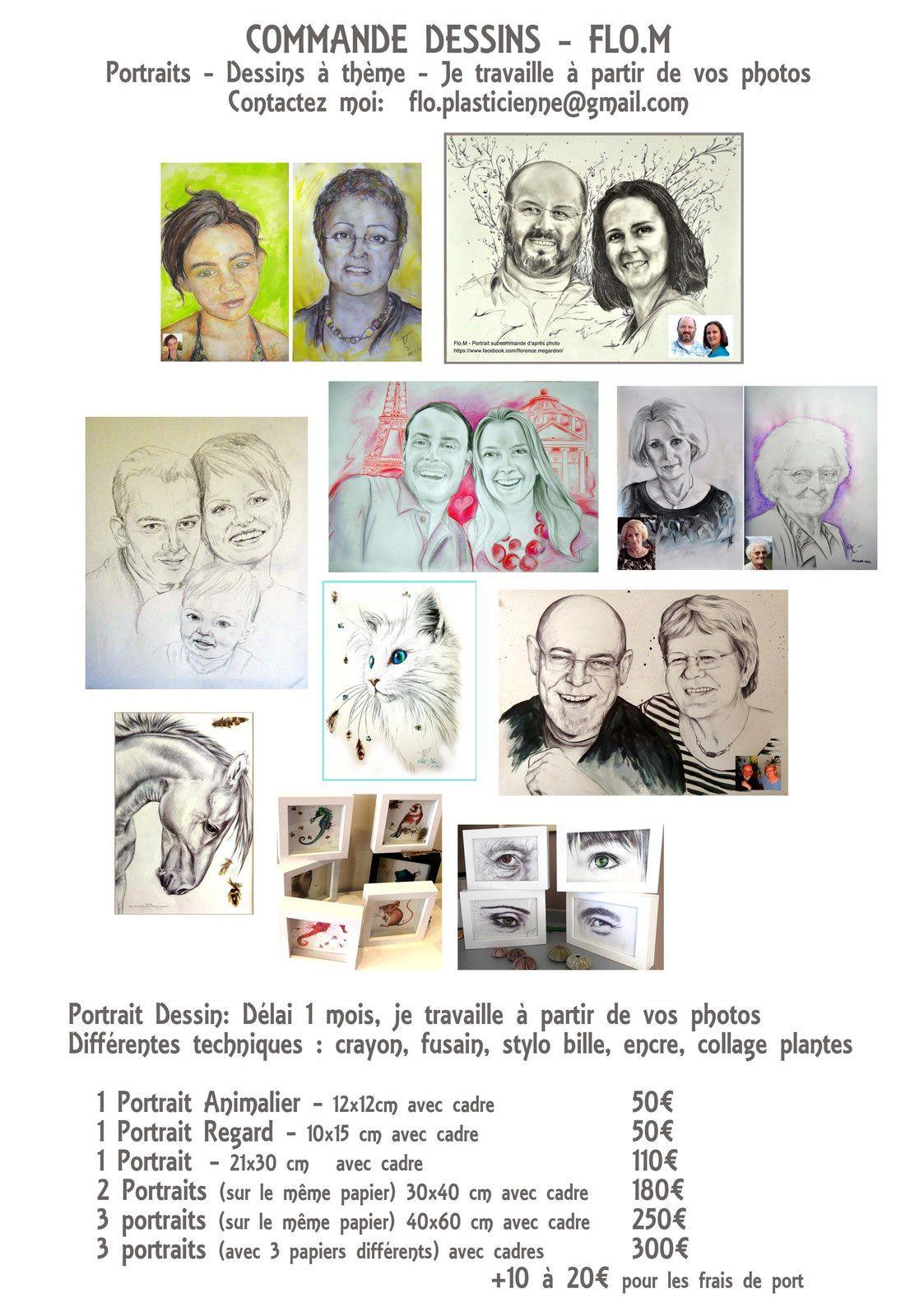 Commande de dessin à thèmes - portrait - portrait animalier-différents formats et prix