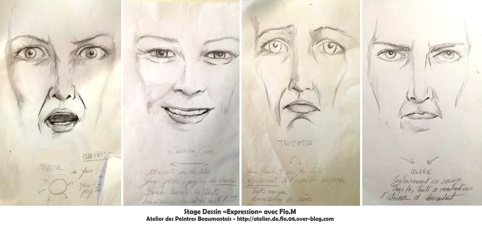 Expressions types pour dessiner un portrait expressif avec Flo.M - Stage à Beaumont - Auvergne : flo.plasticienne@gmail.com