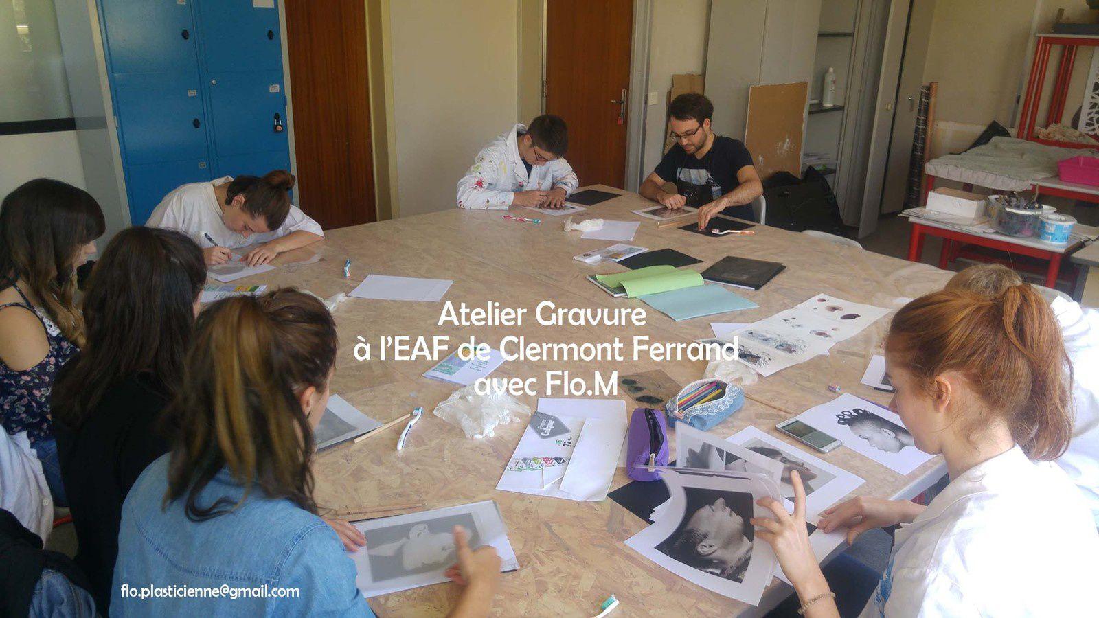 Atelier gravure école EAF Clermont Ferrand FloM