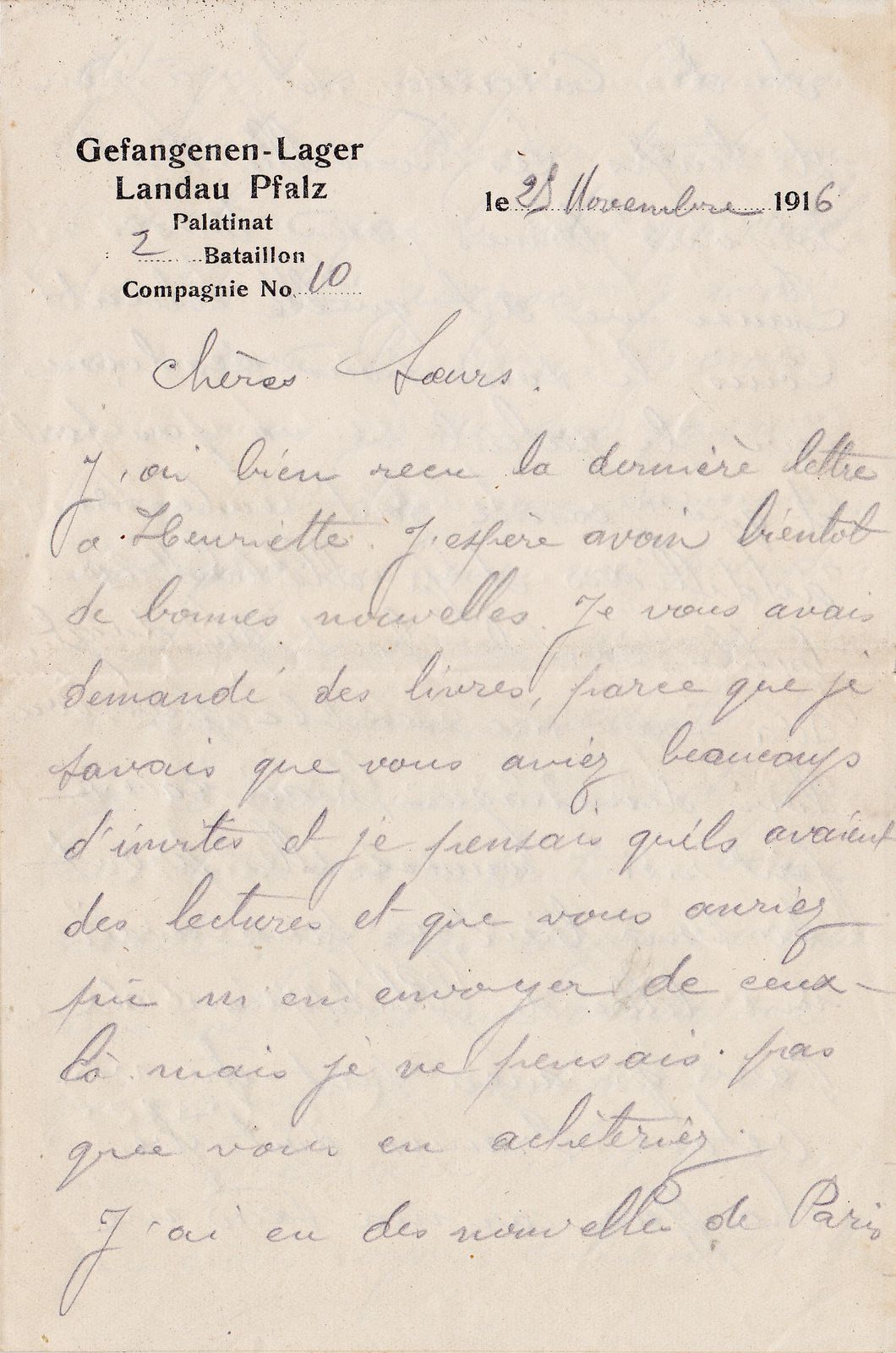 Lettre à ses sœurs du 25 novembre 1916.