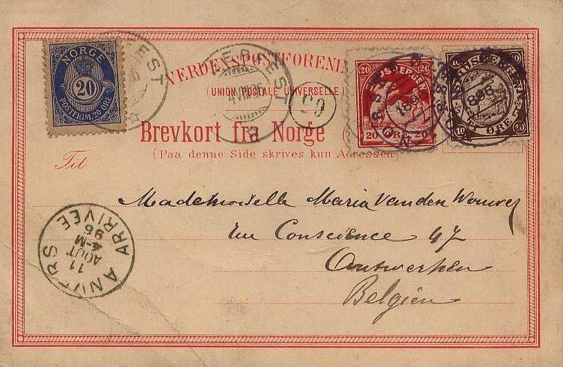 Carte pour la Belgique : les deux vignettes locales sont annulées du cachet « Norske Oerne 1896», le timbre norvégien par le TAD d'Hammerfest.