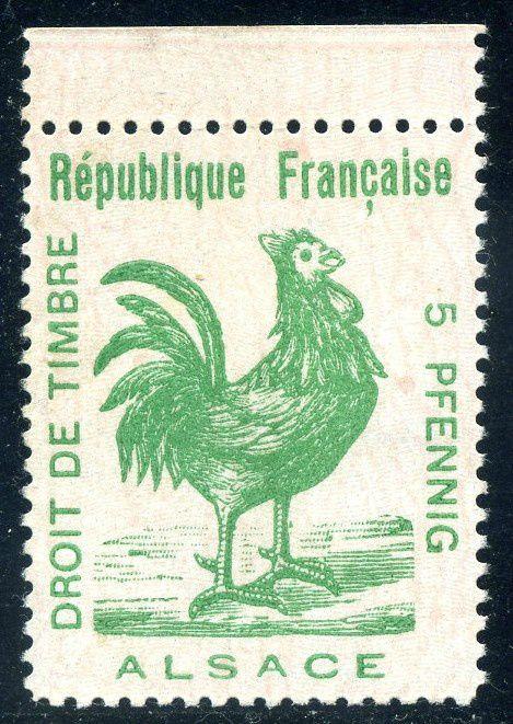Fig.9: Le coq d'Alsace,1914, valeur en pfenning.