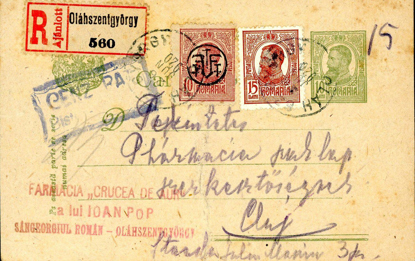 Fig.28: Carte postale récommandée de Sângiorz Băi (Oláhszentgyörgy) à Cluj du 26.06.1920 timbres roumains, cachet de censure roumaine, CAD et étiquette de recommandation hongroise. Fig.29: Enveloppe récommandée de Cluj (Kolozsvár) à Bucarest, le 14.05.1920, CAD hongrois, timbres, étiquette de recommandation et cachet de censure roumains.