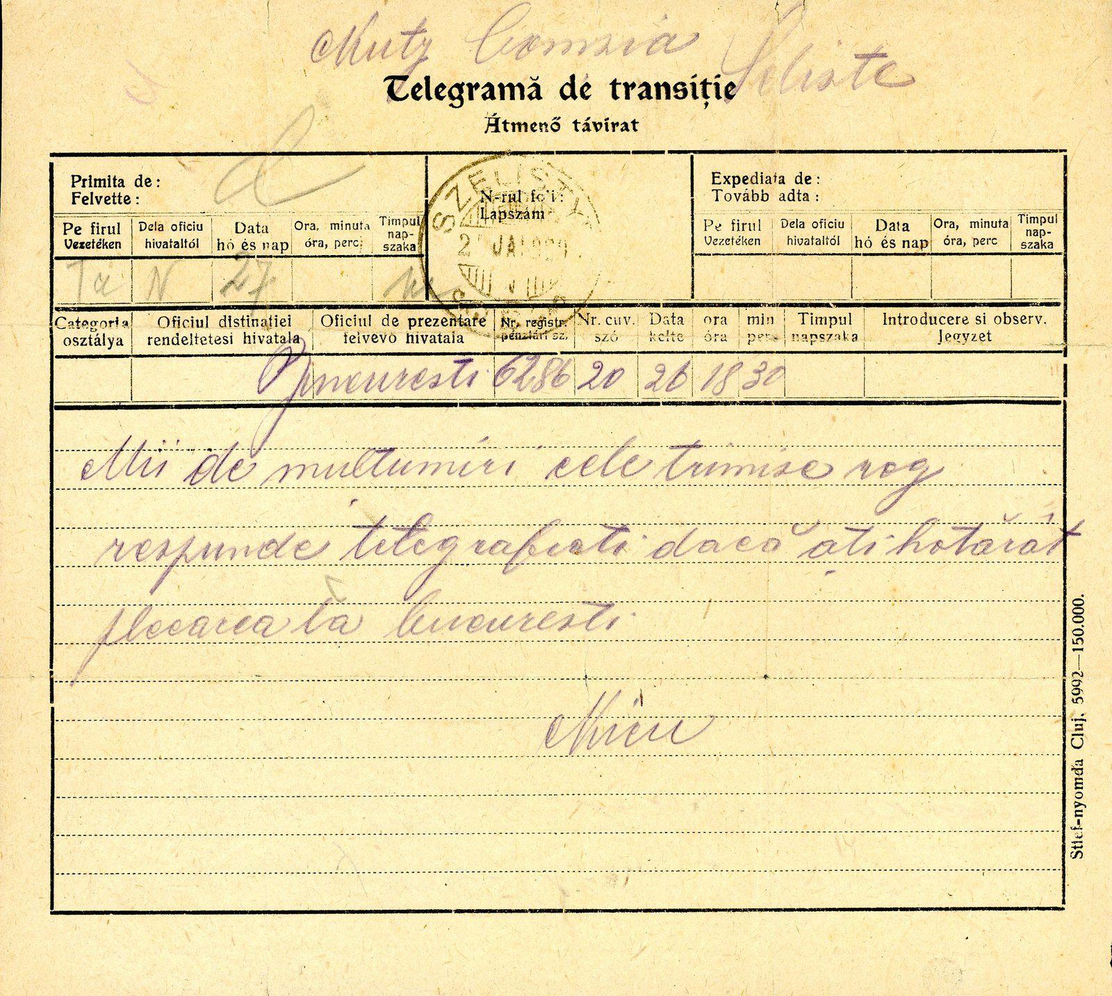 Fig.24: Formulaire de télégramme hongrois, utilisé à Brașov (Brasso) le 14.04.1919, CAD hongrois, annotation manuscrite de censure en roumain. Fig.25: Formulaire de télégramme de transition, en hongrois et roumain, utilisé à Săliște (Szelistye) le 26.01.1920. Fig.26: Formulaire de télégramme de service bilingue en roumain et hongrois utilisé à Radna (Maria Radna) le 12.04.1920. Fig.27: Le verso du télégramme de fig.26, CAD et cachet en roumain.