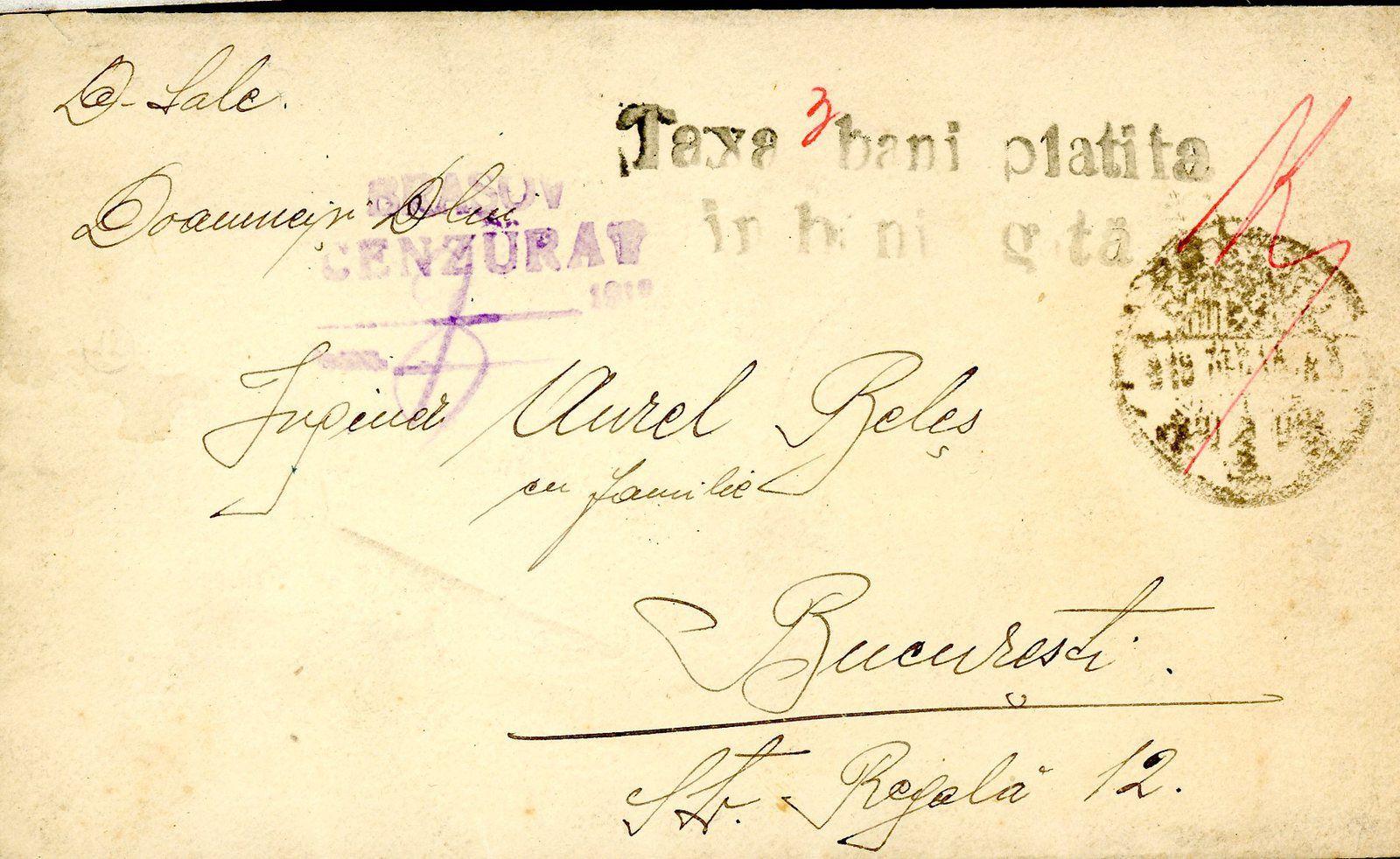 Fig.21: Carte postale de Lugoj (Lugos) à Balș, du 23.081919, non-affranchie et sans timbre, CAD hongrois, cachet roumain de censure. Fig.22: Carte postale de Brașov (Brasso) à Sânmartin (Csikszentmárton) du 06.12.1919 avec cachet de taxe en roumain, CAD hongrois et cachet de censure roumaine. Fig.23: Enveloppe de Brașov (Brasso) à Bucarest du 28.08.1919 avec cachet de taxe en roumain, CAD hongrois et cachet de censure roumain.