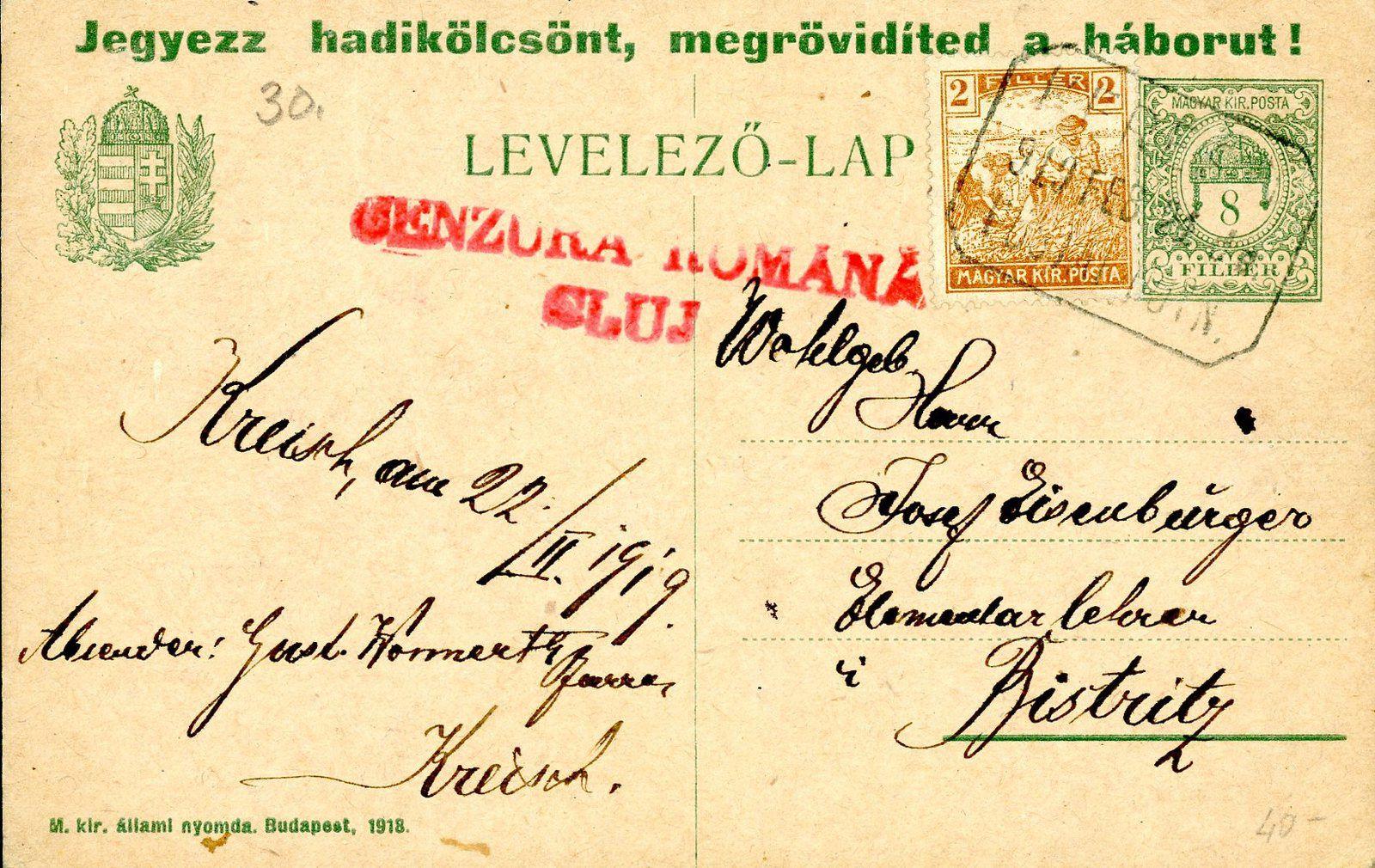 Fig.6: Carte postale hongroise 10 filler de Brașov (Brasso) à Sebes (Szaszebes) du11.11.1919. Timbre-poste et CAD hongrois, cachet roumain de censure. Fig7: Carte postale hongroise 8 filler et timbres hongrois, CAD hongrois et cachet de censure roumaine. Fig.7bis Carte postale hongroise 10 filler et timbres roumains, CAD hongrois, étiquette de recommandation hongroise, envoyée  d'Arad à Sibiu (Nagyszeben) le 09.11.1919. Fig.8: Carte postale fermée hongroise 20 filler avec surcharge roumaine de Cluj 15 bani. Fig.9: Carte postale hongroise 10 filler avec surcharge roumaine de Timișoara 10 bani. Fig.10: Carte postale militaire hongroise avec surcharge roumaine de Cluj renversée 10 bani. CAD hongrois Timișoara (Temesvár) du 28.04.1920, cachet roumain de censure.