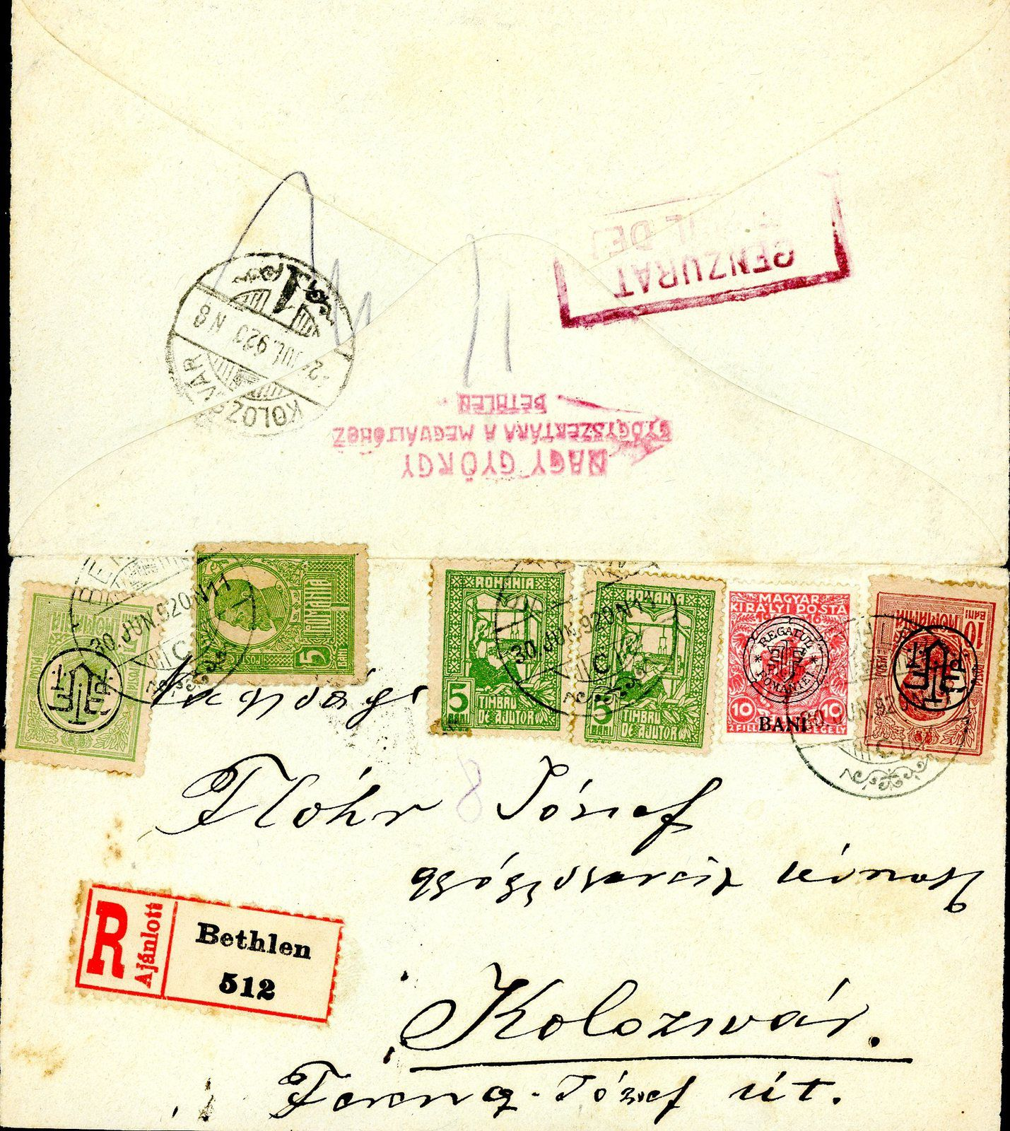 Fig.13: Billet de banque hongrois de 10 Korona avec le cachet roumain ROMANIA TMBRU SPECIAL. Fig.14: Enveloppe recommandée de Cluj (Kolozsvár) à Prundu Bârgăului (Borgóprund) du 04.09.1919. CAD hongrois, timbre hongrois avec surcharge roumaine de Cluj, cachet roumain de censure. Fig.16: Carte postale d'Ocna Sibiului (Vizakna) à Berlin du 27.10.1919. CAD hongrois, timbres hongrois avec surcharge roumaine de Cluj, cachet roumain de censure. Fig.18: Carte postale de Timișoara (Temesvár) à Ploiești du 21.11.1919, CAD hongrois, timbre hongrois surchargé à Cluj et timbre roumain, cachet de censure roumain.