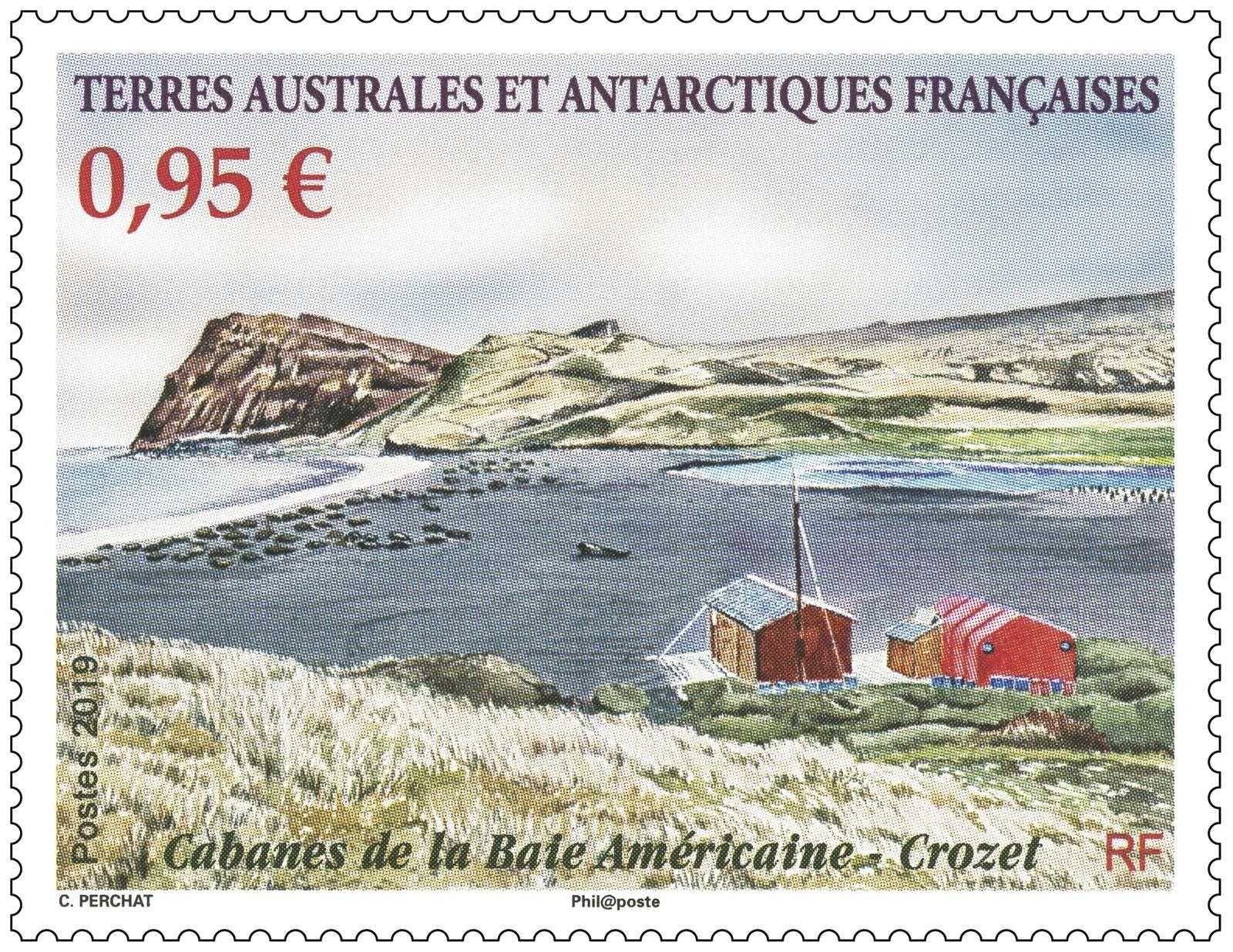 Deux propositions de Claude Perchat, non retenues, la maquette finale et le timbre définitif de la Baie des Américain et ses cabanes.