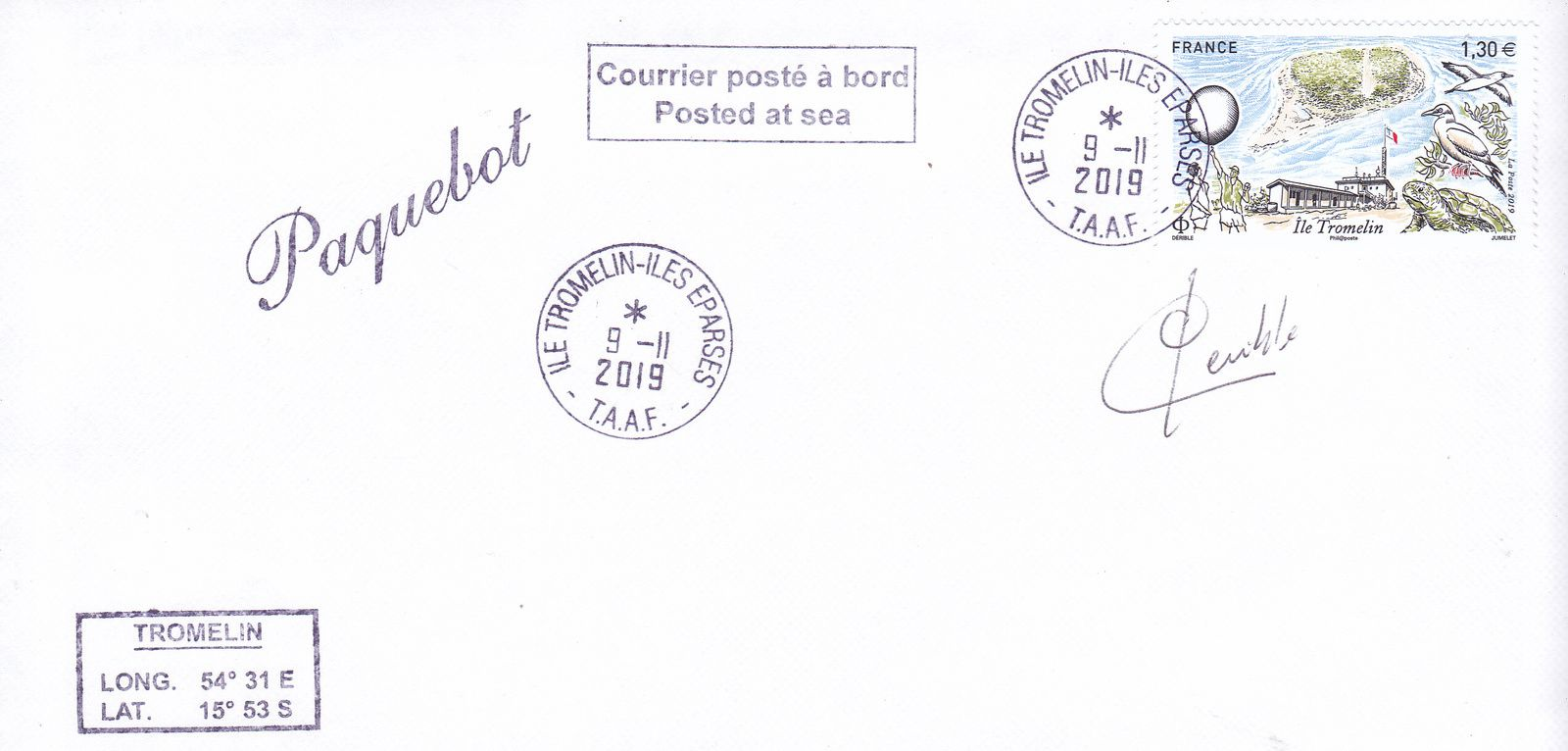 Fig.9: Carte postée à bord du Marion Dufresnes de passage à Tromelin le 9 novembre.