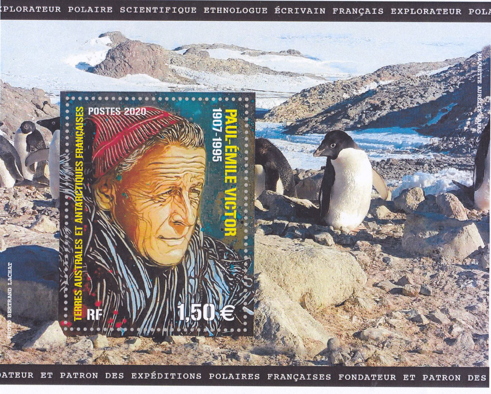 Le timbre-bloc Paul Emile Victor, d'après un portrait de Christian Guémy