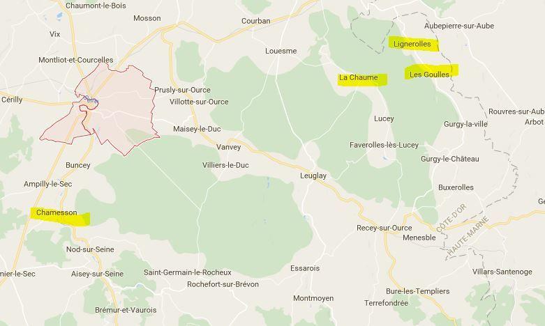 Canton de Châtillon sur Seine Côte d'Or : La Chaume, Les Goulles et Lignerolles  et Chamesson
