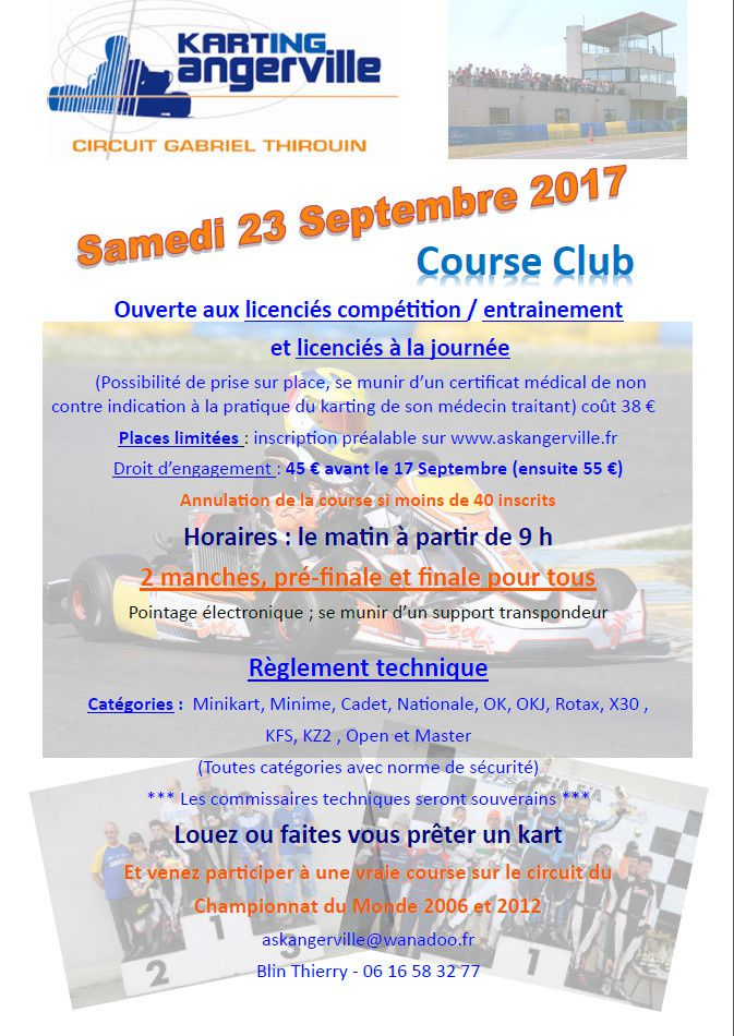 affiche course club Angerville