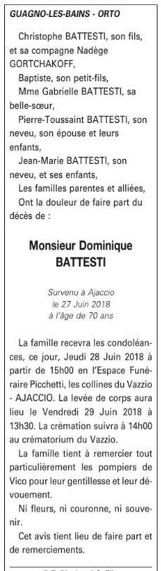 Décès de Dominique Battesti