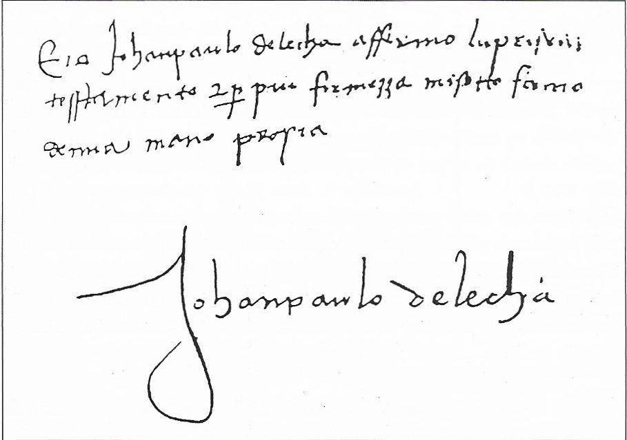 """Signature de Giovan Paolo de Leca sur son testament de 1487 (extrait de """"le couvent St François de Vico"""" par le P. Louis Doazan)."""