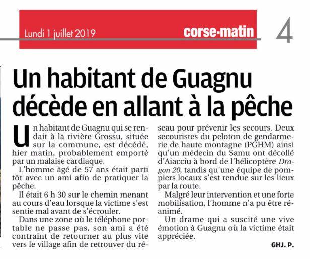 Obsèques à Guagno et à Guagno-les-Bains