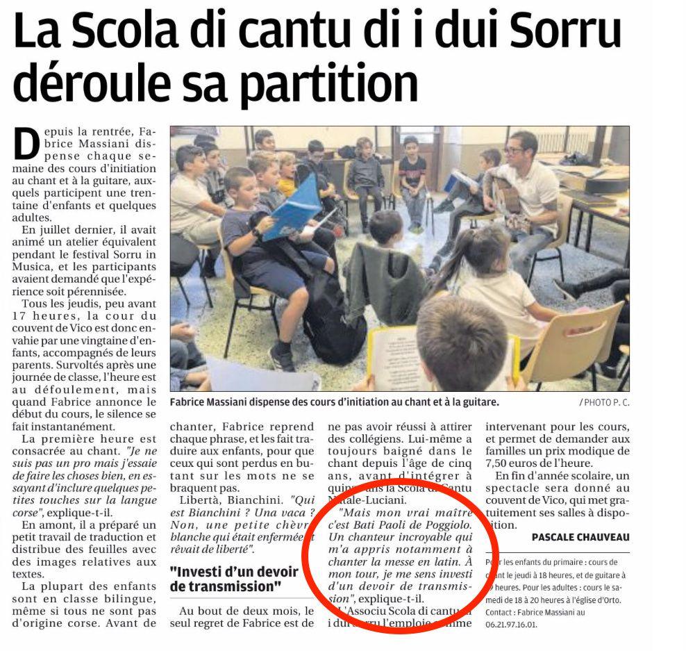Les Deux Sorru chantent grâce à Fabrice et à Bati